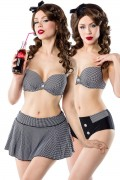 3-piece Vintage Bikini Set with Skirt